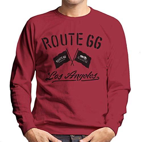Route 66 Motorcycle Flags Los Angeles Men's Sweatshirt Cherry Red (Best Bike Routes Los Angeles)