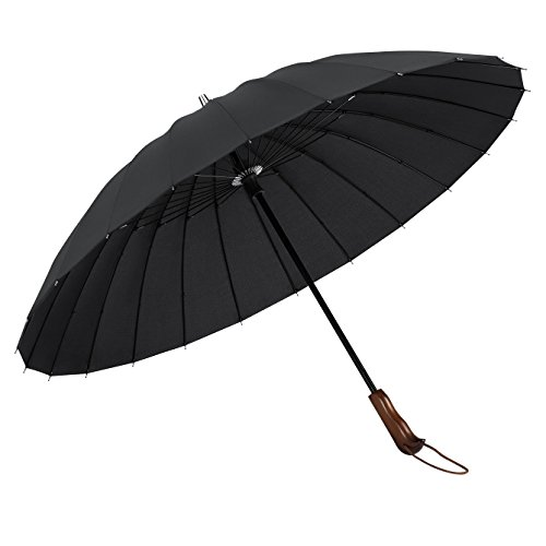 Plemo Windproof Stick Umbrella, Wood Handle Waterproof Pongee Cloth with 24 Ribs, Durable for Optimal Resistance to Wind and Rain, Classic Black ()