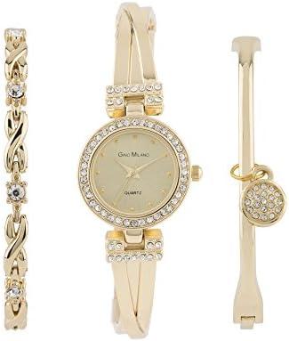 Women s Bangle Bling Watch and Multi Bracelet Matching 3 Piece Set with Gift Box