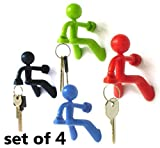Fun Magnetic Man - Most Fantastic Key Holder with Wall Climbing Man Design | Ultra Strong Magnet and Silicone Material that Holds Up To 1.4 Pound | Special Set of 4 (Black, Green, Red, and Blue)