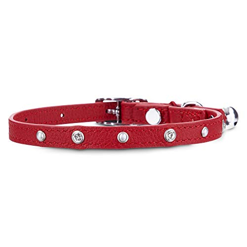 Bejeweled Collars - Bond & Co. Bejeweled Red Leather Cat Collar with Safety Stretch, Standard, Red/Red