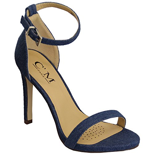 Cheville Bout 862815 Neuf Aiguille Ouvert Femmes Escarpin Jeans Sandales Talon Denim Bride Mesdames Buckle qzIZRwO