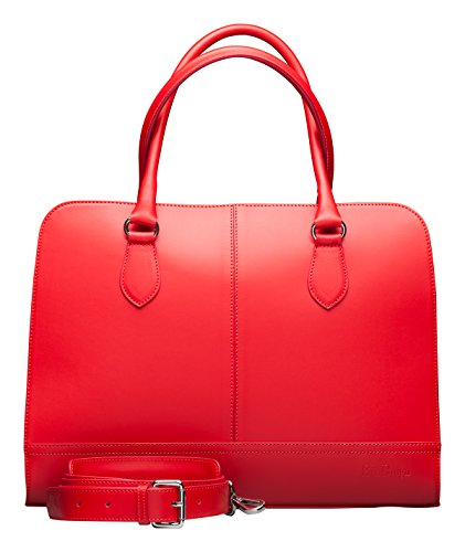 Su.B.dgn Designer 15.6 Inch Laptop Handbag Messenger Bag for Women | Genuine Italian Leather | Professional, Vertical Shoulder Tote | Computer, PC, Notebook, MacBook | Red by Su.B.dgn