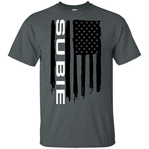 WheelSpinAddict Men's Subie WRX STi Outback Forester Crosstrek American Flag T-Shirt Dark Heather