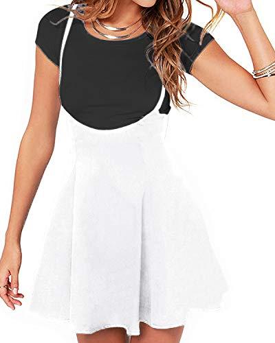 - YOINS Women's Suspender Skirts Basic High Waist Versatile Flared Skater Skirt A-White XXL