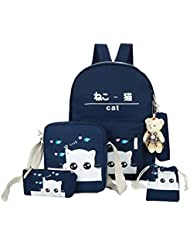 Weilong Teens School Backpack Set Canvas Girls School Bags, Bookbags Set of 5