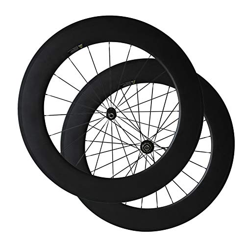 Bike Wheelset, Carbon Fiber Bicycle Wheels with 700C Powerway R36 Ceramic Bearing Hub Pillar 1432 SpokesSpokes(88mm Clincher, 25mm Width)