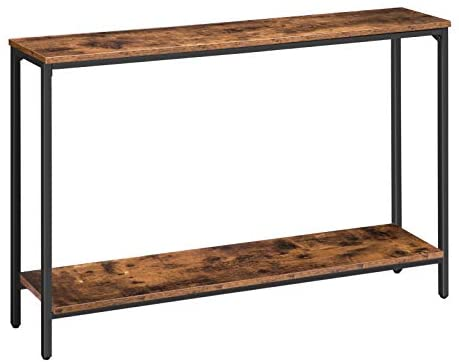 Rustic Brown BF20XG01 Industrial Entryway Table for Living Room Wood Look Accent Entrance Table HOOBRO Console Table Corridor Hallway Foyer Office 47.2 Narrow Sofa Table with Shelf