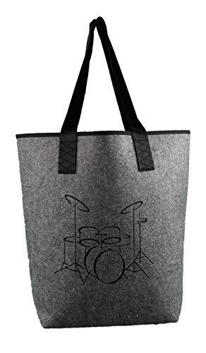 Filztasche mit Motiv Schlagzeug schwarz