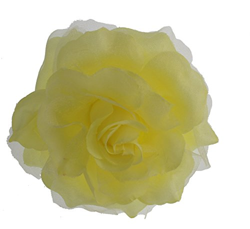 Clear Flower Brooch - Women's Dramatic Shimmer Rose Flower, Pin, Clip, Hair Tie (Pastel Yellow)