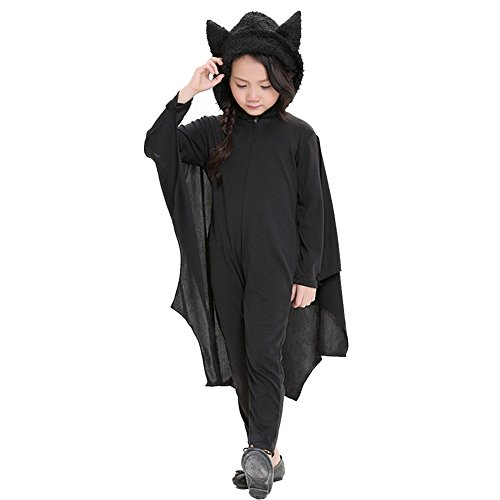 Cute Vampire Girl Costumes (Vogvigo Halloween Vampire Bat Costume Neutral Kids Boys' Girls' Cozy Romper With Wings And Gloves (S=Height 41.3-45.4in))