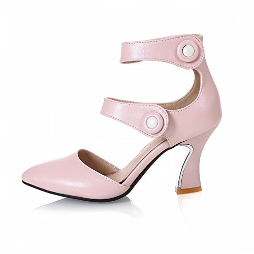 Charm Foot Womens Pointed Toe High Heel Ankle Strap DOrsay Shoes Pink ylsKW