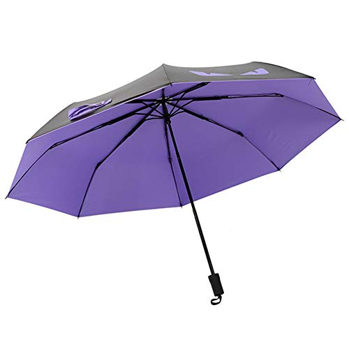 XMXWQ Umbrella,Creative Little Devil Black Plastic Umbrella Rain and Rain Anti-UV Tri-Fold Umbrella,B