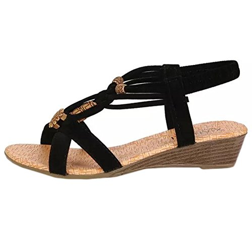 Scothen Peep-toe informal hebilla plana zapatos de mujer sandalias señoras zapatos ocasionales hebilla plana sandalias Roman Sommer T-correa sandalias de gladiador correa flip-flop zapatillas Negro
