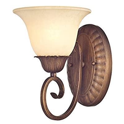 Westinghouse 6221200 Regal Springs One-Light Interior Wall Fixture, Ebony Gold Finish with Burnt Scavo Glass