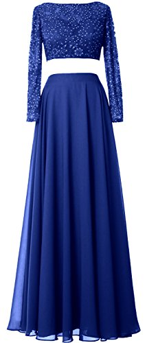 MACloth Women 2 Piece Long Sleeve Prom Dress Lace Chiffon Formal Evening Gown Azul Real