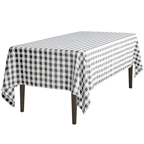 (60 x 102 in. Rectangular Tablecloth Black & White Checker)