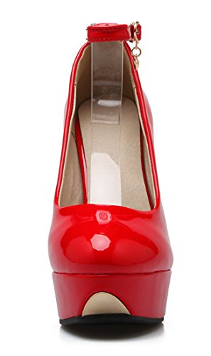 Missonly Women High Heels Platform Patent Leather Ankle Strap Stiletto Court Shoes Party Pumps Red YHGkIQBmr