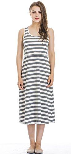 Modern Mummy Womens Sleeveless Maternity Dress Striped Nursing Breastfeeding Dress