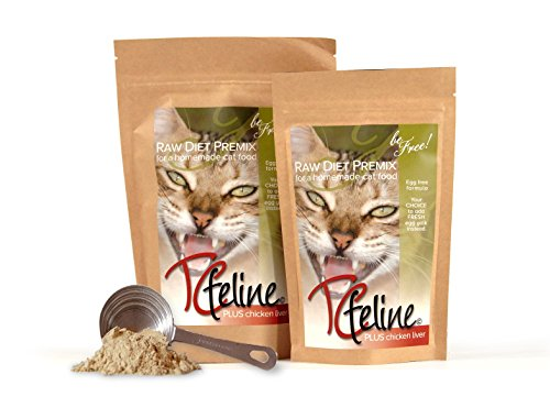 TCfeline Raw Cat Food - A Premix (Supplement) to Make a Homemade raw cat Food Diet. All Natural, Grain Free, Human Grade and Species Appropriate Raw for Cats. (with Chicken Liver - Trial 4.2 oz) (Best Raw Diet For Cats)