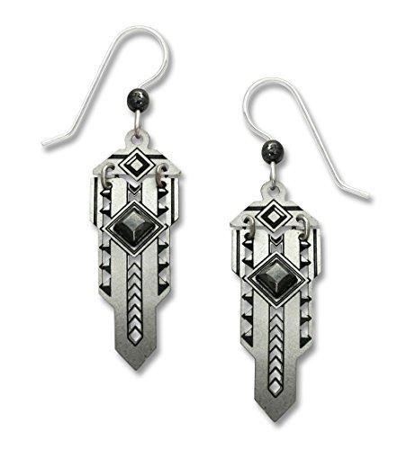 Adajio by Sienna Sky Metal Art Deco Style 'Sword' Sterling Silver Earrings 7617