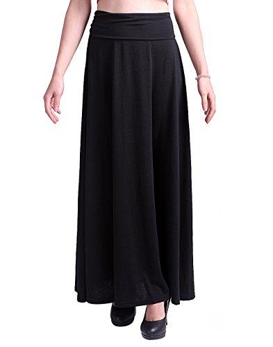 st Fold Over Elastic Long Summer Maxi Skirt (Black, Medium) (Cotton Unlined Skirt)