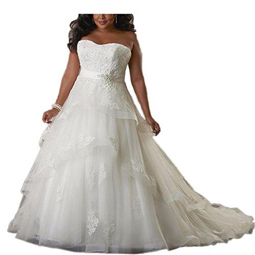 Brautkleid Rüschen Trägerlos Wulstig Organza Elfenbein Appliques Hochzeitskleid CoCogirls Hochzeitskleider Übergröße 2017 Brautkleider Sexy qnPFU
