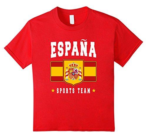 Kids ESPANA T-shirt Spain Emblem-a Spanish Flag Soccer Spaniard 12 Red