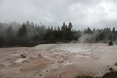 (24 x 36 Giclee Print of Steam Rises from The Earth and hot Springs in The Fountain Paint Pot Section of Yellowstone National Park in The Northwest Corner of The Western State of Wyoming. Sometimes )