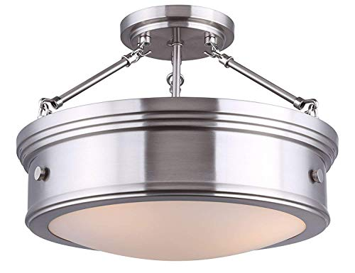 (Canarm Boku BN 3 Bulb Semi-Flush Mount with Flat Opal Glass, Brushed Nickel)
