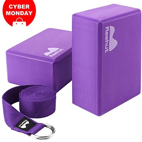 REEHUT Yoga Block (2 PC) and Metal D Ring Yoga Strap(1 PC) Combo Set, 9 x 6 x 4High Density EVA Foam Block to Support and Deepen Poses, 8FT Yoga Belt for Stretching, General Fitness(Purple) …