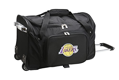 NBA Los Angeles Lakers Wheeled Duffle Bag, 22 x 12 x 5.5'', Black by Denco