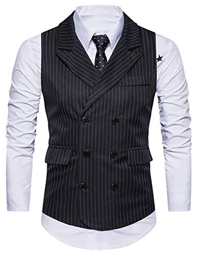 XTAPAN Men's Suit Vest Waistcoat-Double Breasted Striped Business Dress Vest for Suit or Tuxedo US L=Asian XL Black M29