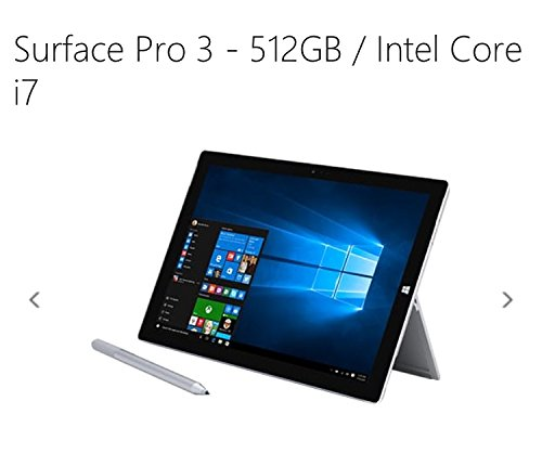 Price comparison product image Microsoft Surface Pro 3 512GB WiFi Tablet + Black Type Keyboard Bundle (12-Inch Touchscreen, 1.7GHz Intel Core i7, 8GB Ram)