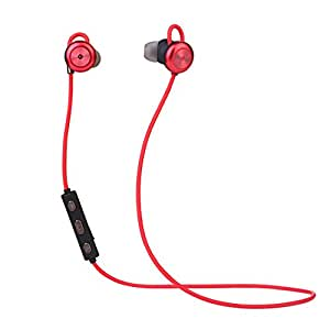 MRtech S500 Bluetooth Wireless Earphones with Mic, Sweat-proof, Gym, Sport, Hands-free for iPhone, Samsung, Huawei ect (Bluetooth: 4.1, 10M, 8 Hrs playing time) (Red)