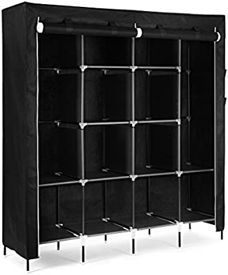"SONGMICS 67"" Clothes Closet Portable Wardrobe Clothes Storage Rack 12 Shelves 4 Side Pockets Black URYG44H"