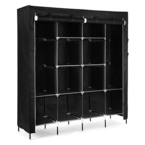 SONGMICS 67 Inch Wardrobe Armoire Closet Clothes Storage Rack 12 Shelves 4 Side Pockets, Quick and Easy to Assemble, Black - Wardrobe Bedroom