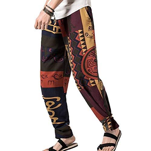 Pantaloni Tempo Pants Vintage c1 Etnico Hippie Fashion Uomo Estate Libero Colour Stampa Stile Giovane Saoye Da Patchwork Beach qSp6R