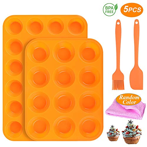 Silicone Muffin Pan Set 24 Cups and Regular 12 Cups Muffin Tin Nonstick Pan BPA Free 100% Food Grade Silicone Molds with SpatulasampOil Brush Dishwasher Safe for Egg MuffinCupcakes Brownies2Packs