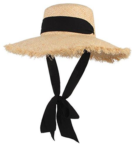 Women's Floppy Raffia Straw Hat Big Brim Sun Beach Hats Unique Windproof Strap Design with Fashionable Big Bowknot Beige