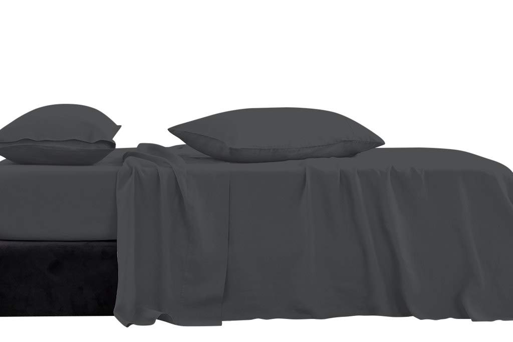 Luxury Hotel Collection Double Brushed Microfiber - 1800 Series - Expanded Queen Size Sheet Set With 15 Inch Deep Pocket (Solid Dark Grey) - 4 Piece Set - Wrinkle Free, Stain Resistant Bed Sheet Set
