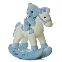"Blue Baby Boy Musical 12"" Rocking Horse with Teddy Bear"