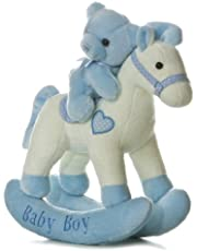 EBBA Blue Baby Boy Wind-Up Musical Rocking Horse with Teddy Bear 12""