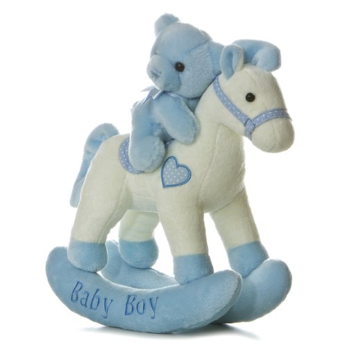 Aurora Baby Plush Rocking Horse, Blue/White ()