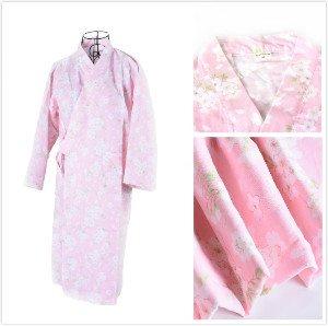 むしゃむしゃ等々インシデントレディース 浴衣 無地 甚平 寝巻き 桜の花柄 可愛い浴衣 綿100% お寝巻 ねまき パジャマ 旅館 女性