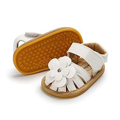 Meckior Baby Toddler Infant Girls PU Leather Soft Closed Toe Summer Sandals Flower Princess Flat Shoes Black Size: 6-12 Months Infant