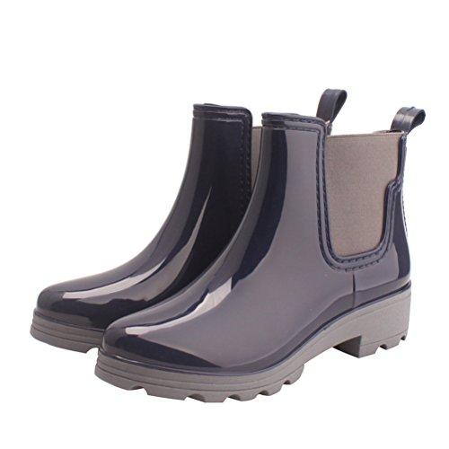 OMGard Women Ankle Rain Boots Rubber Waterproof Rainboot Low Heels Slip On Flats Shoes Color Blue Size 6