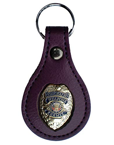 Gold CCW CWP Concealed Weapons PURPLE Leather FOB Key chain Key ring