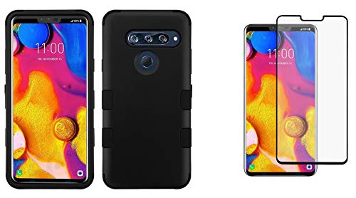 Black Shield Protector Rubberized Case (Bemz Accessory Bundle Designed for LG V40 ThinQ - TUFF Hybrid (Military Grade Certified) Rubberized Case (Black) with Bubble-Free Tempered Glass Screen Protector and Atom Cloth for LG V40 ThinQ)