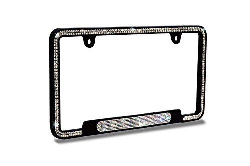 JR2 Premium Shinning Glass Crystals Black Metal License Plate Frame(Oval Shiny Crystal Design)+Free Caps (White)